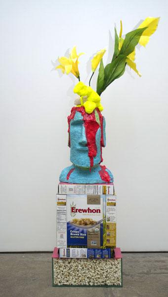 item idem Portrait of Mussolini as Prometheus, 2014 Planter, bubblegum, latex, foam, silk flowers, cereal boxes, acrylic, glass container, popcorn 10 x 22 x 55in (25 x 56 x 140cm)